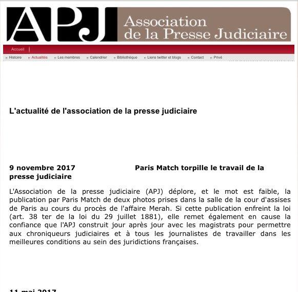 Paris Match torpille le travail de la presse judiciaire - communiqué de presse #Merah http://pressejudiciaire.fr/2.html