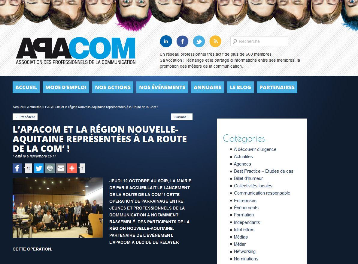 Merci @APACOMaquitaine d'avoir mis en lumière les parrains/marraines et les parrainés aquitains de #LaRouteDeLaCom ➜  http://www. apacom-aquitaine.com/lapacom-et-la- region-nouvelle-aquitaine-representees-a-la-route-de-la-com/#.WgRN4jET1SO  …  #ComPublique #Compol #ComInterne #Colterr #Entraide #Humanismepic.twitter.com/HswYILTbbC