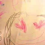 ちょちょ(姪っ子)がライブの次の日、幼稚園でゆうの似顔絵描いてくれたんだって。目がはーと💓そんな風に…