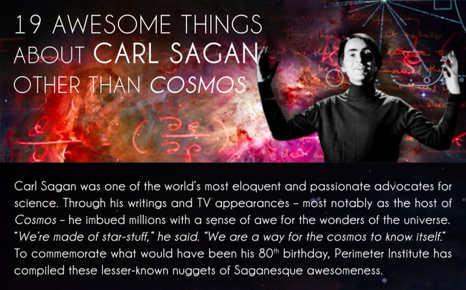 Happy Birthday to astrophysicist and science communicator Carl Sagan!