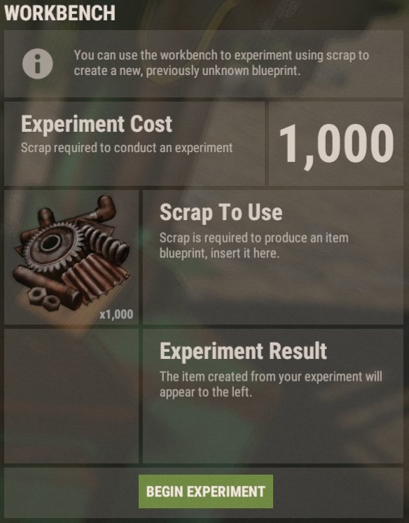 Rustafied on twitter blueprint experimentation has been added to add the required amount of scrap to a workbench 100 300 or 1000 depending on level and run an experiment to get a random blueprint from that item malvernweather Gallery