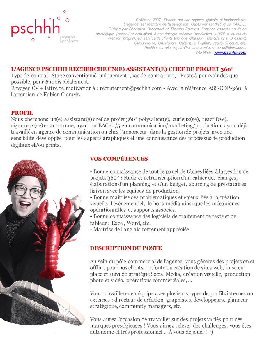 🚨📢 ALERTE RECRUTEMENT ! 🚨📢  On recherche un assistant chef de projet 360° en stage, poste à pourvoir dès que possible !!    Merci d'envoyer votre CV et lettre de motivation à recrutement@pschhh.com   #Job #Stage #Pschhh https://t.co/9GIbXgfdL3