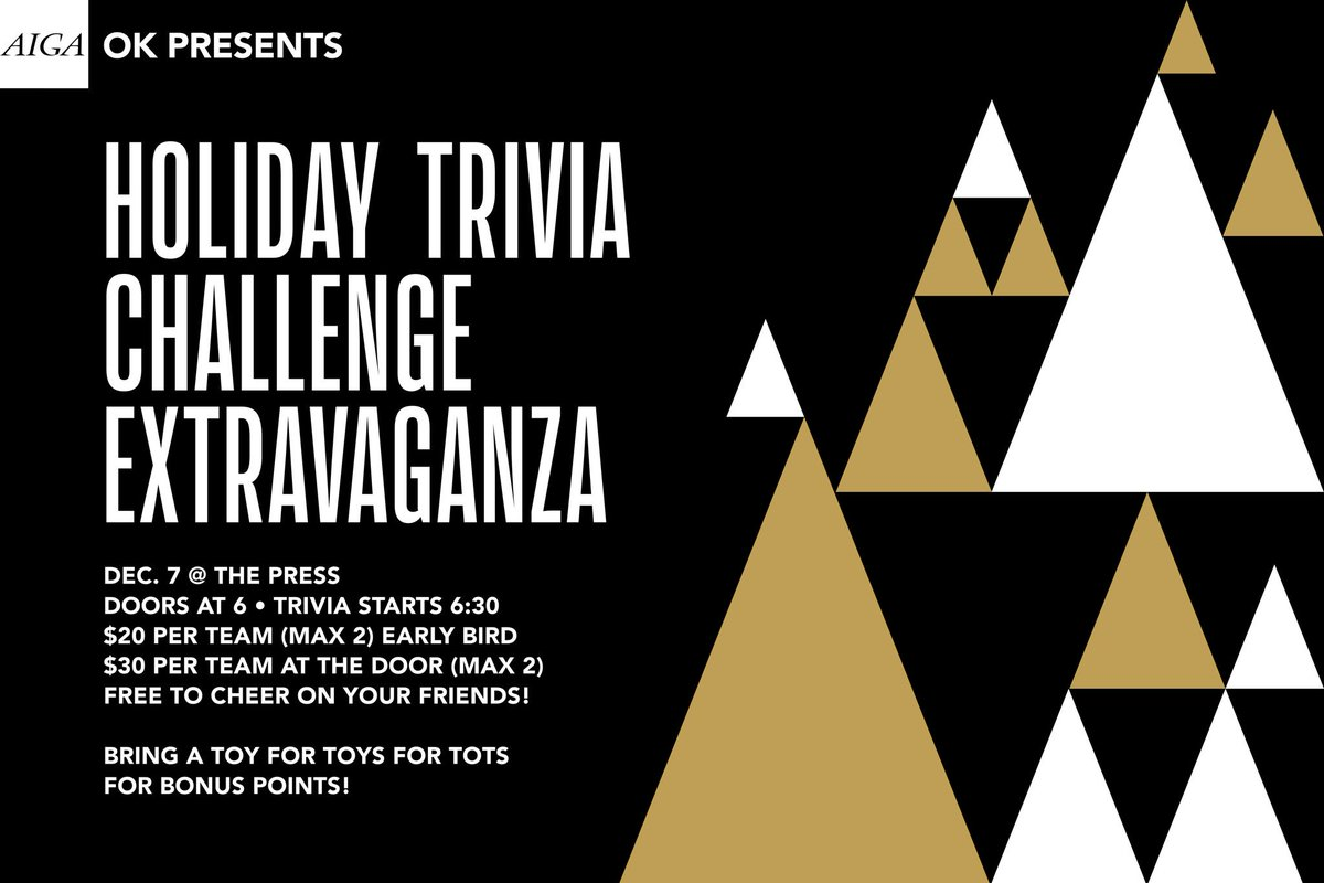 Alright,  you helped make our Draplin event a killer success. We're hoping you keep the streak going. In less than a month, we're teaming up with @ThePressOKC to bring you a fun night of holiday trivia. Trust us, this is a night Yule not want to miss. #aigadesign #aiga #design<br>http://pic.twitter.com/Mg73zORvTR