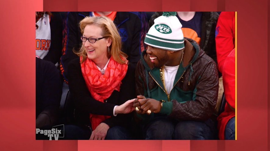 Getting cozy courtside. Hmm... Are #MerylStreep and @50cent new besties? Find out TONIGHT at 12:30a on #PageSixTV!