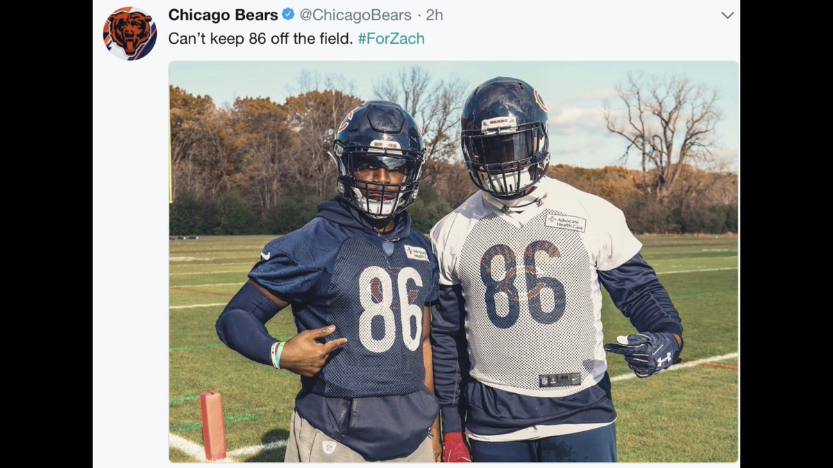 Pernell McPhee and Jordan Howard honoring Zach Miller at today's practice: