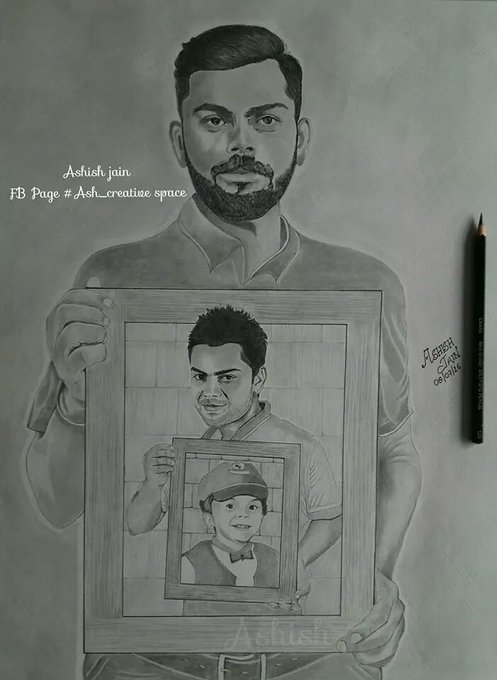 Beautiful sketch by Ash_creative space of Virat Kohli on his birthday Happy birthday King Kohli