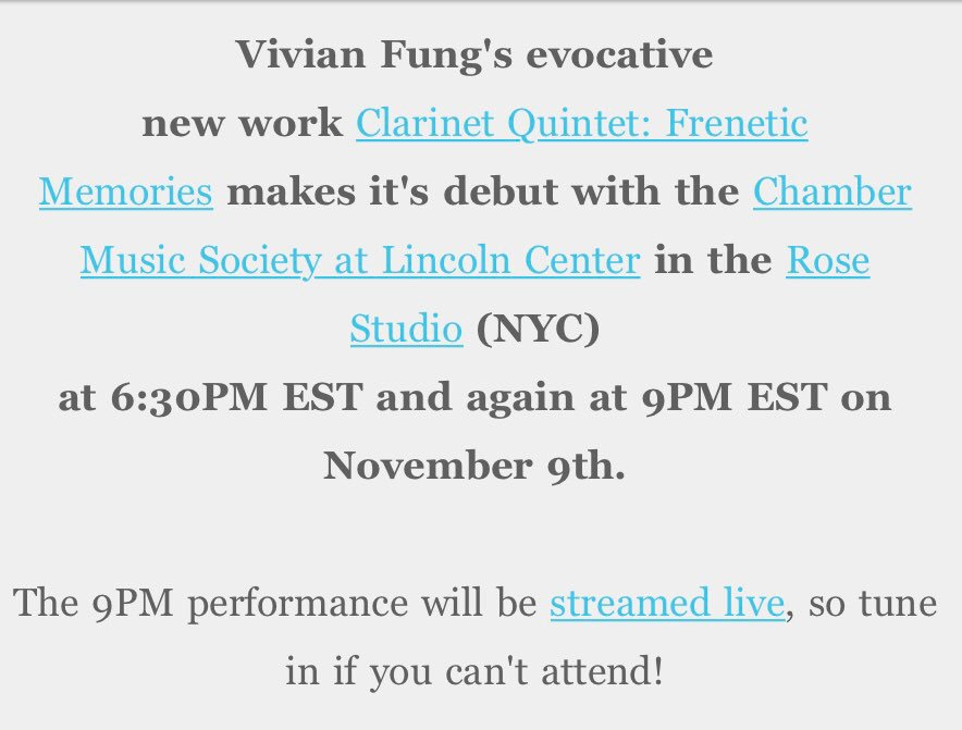 Minutes away from hearing live-streamed #WorldPremiere of #VanBiennale alumna @vivian_fung's  FRENETIC MEMORIES at @chambermusic in #NYC!<br>http://pic.twitter.com/TQpWfi8YdF