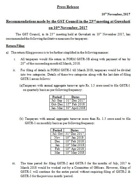 Press Release: Recommendations made by the GST Council in the 23rd meeting at Guwahati on 10th November, 2017