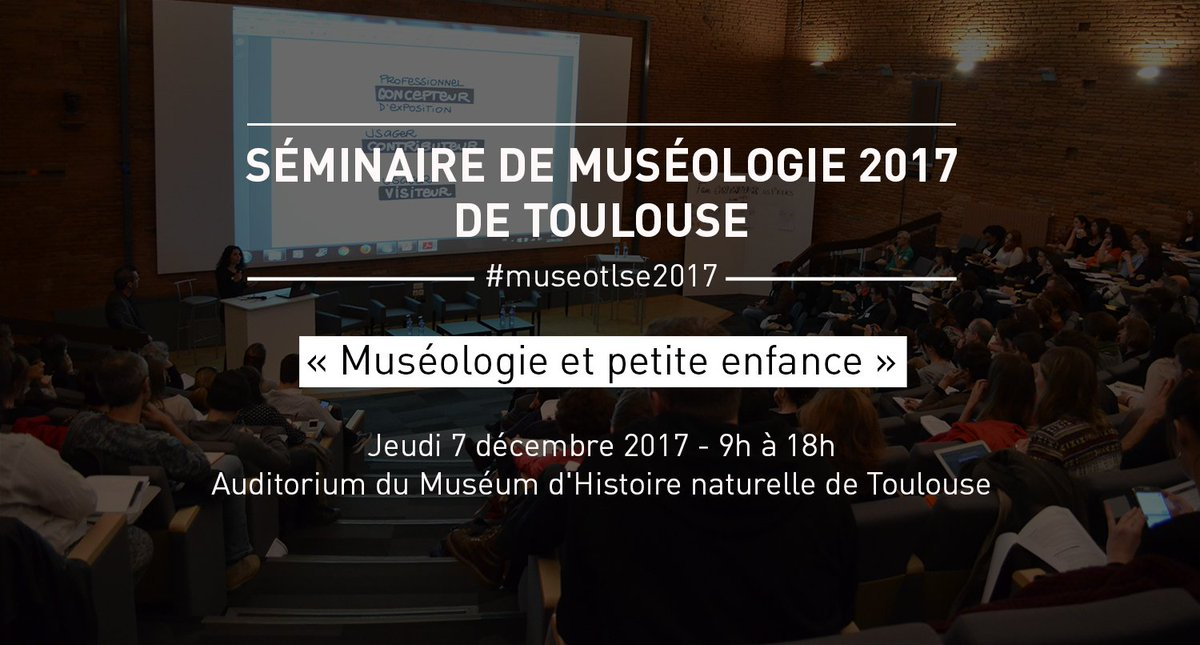 Le @QuaiDesSavoirs co-organise cette année le Séminaire de #museologie de #Toulouse JE 07/12 en collaboration avec @ScienceAnim @CiteEspace @MSR_Tlse @MuseeAugustins @museumtoulouse et  @lesMuseographes ! +infos et inscriptions  http:// bit.ly/2zw368d     #museotlse2017 pic.twitter.com/3LhMO9mk76
