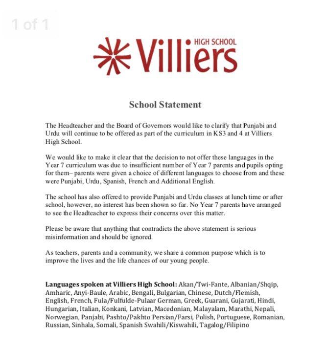Villiers High School on Twitter: