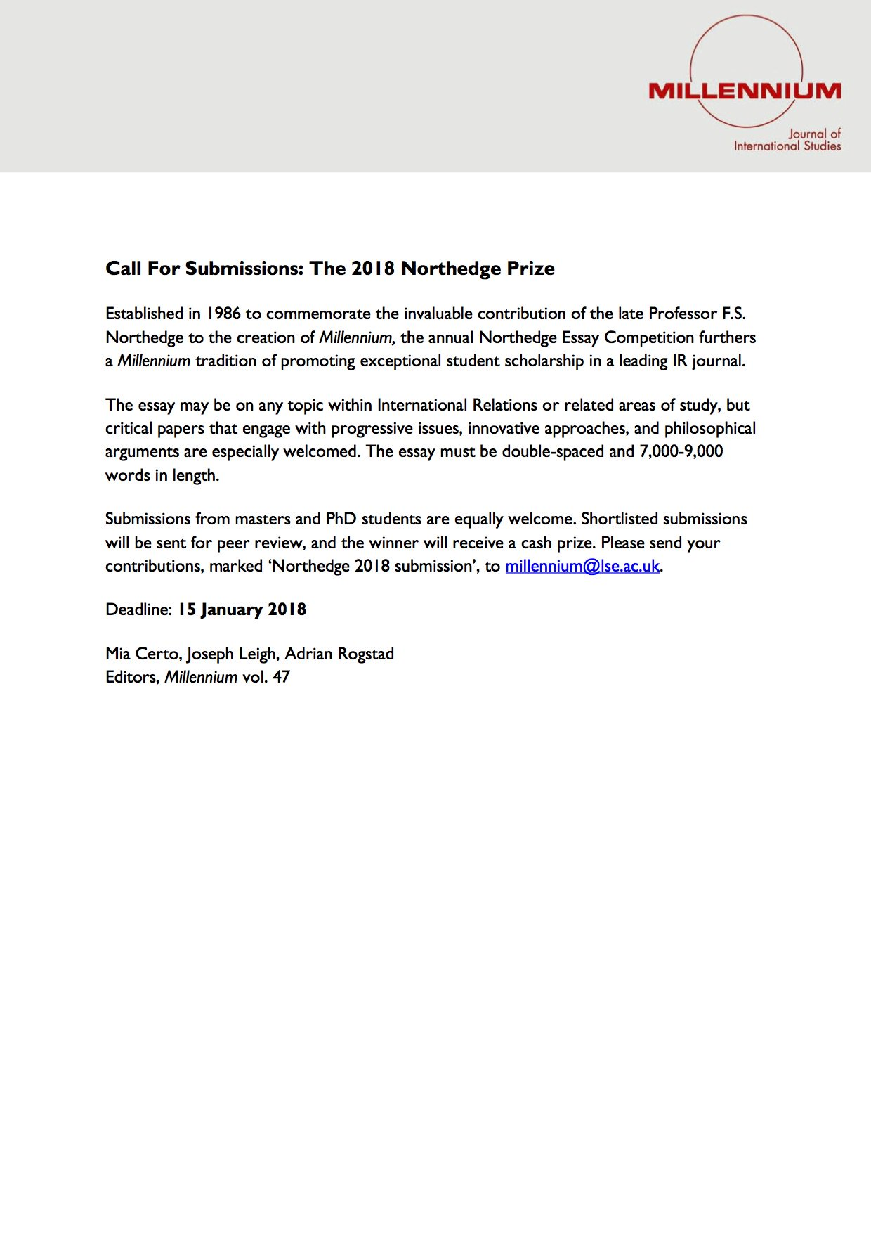 Narrative Essay Thesis Millennium Journal On Twitter Call For Student Essays The  Northedge  Prize  Deadline  January  The Essay May Be On Any Topic Within Ir  Or  Examples Of Essay Papers also University English Essay Millennium Journal On Twitter Call For Student Essays The   Genetically Modified Food Essay Thesis