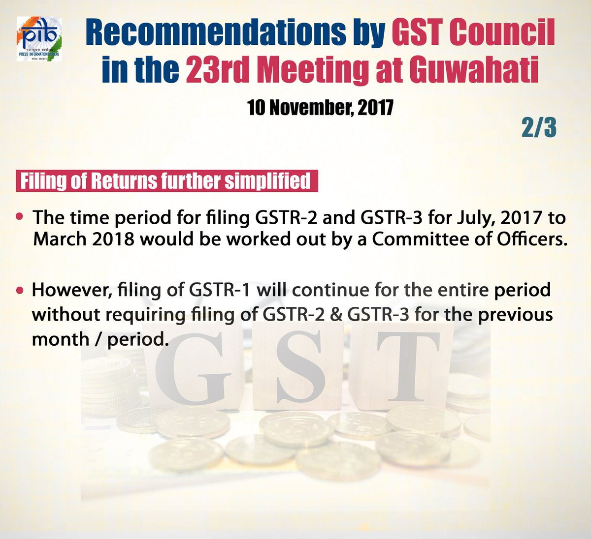 Press Release: GST Council in the 23rd meeting at Guwahati