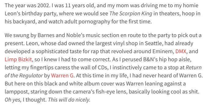 In honor of his 47th birthday, I wrote about my first encounter with Warren G