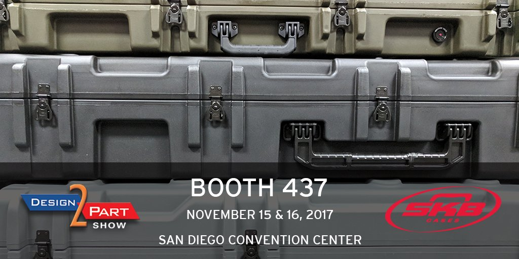 We&#39;ll be at #Design2Part next week in San Diego! Stop by booth 437 to learn how #SKB can provide your company with protective racks &amp; cases. <br>http://pic.twitter.com/dwjYw4tEda