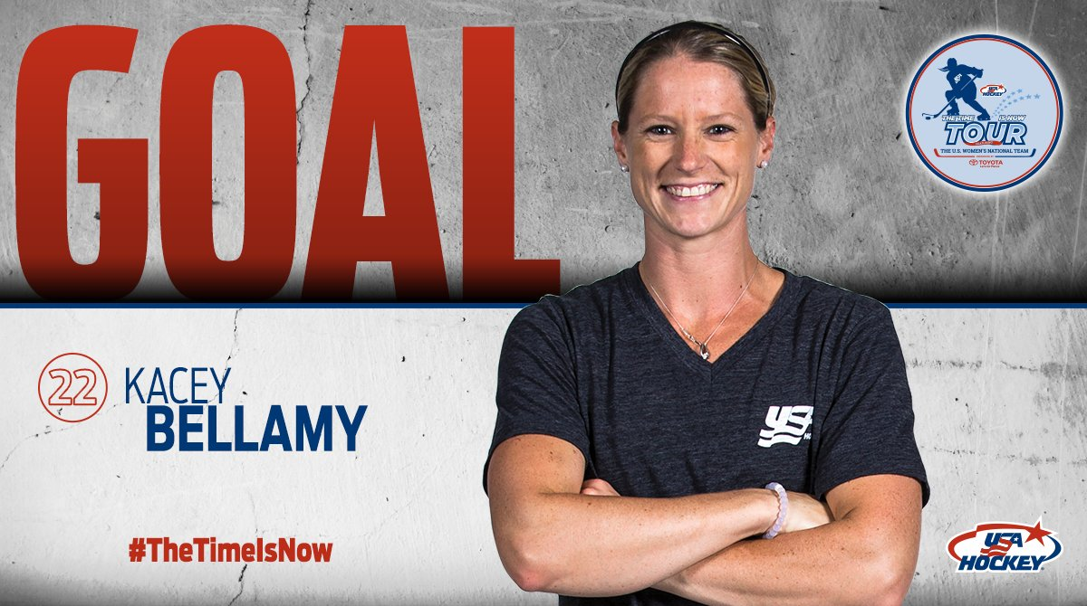 GOAL!  Kacey Bellamy puts home a rebound and #TeamUSA leads, 1-0, 4:23 into play. #4NationsCup<br>http://pic.twitter.com/0aNIMIQpjf