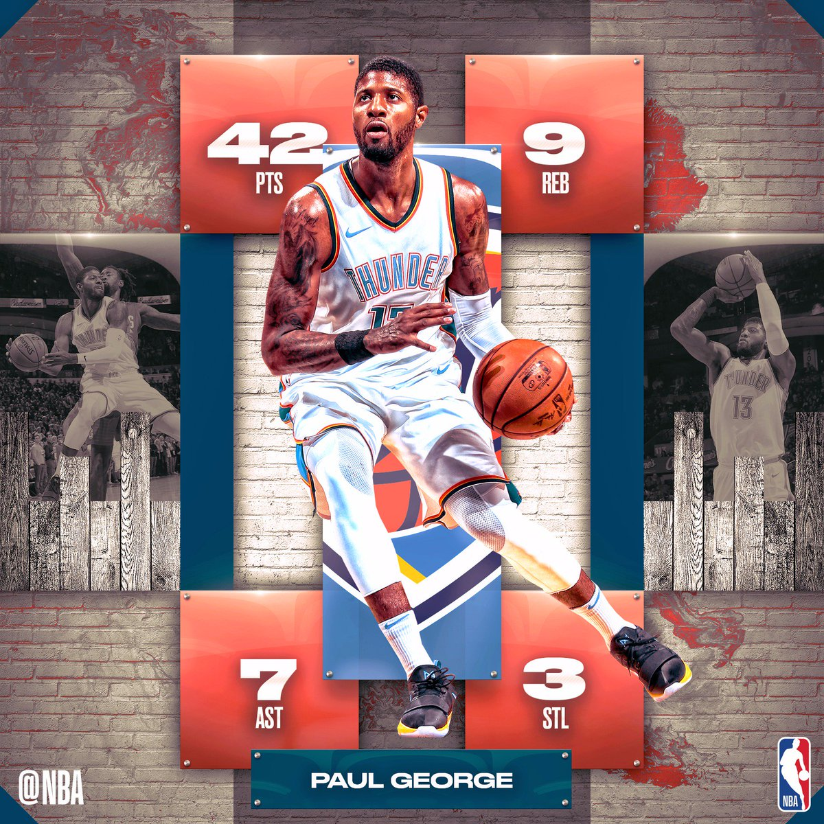 42 PTS. 9 REB. 7 AST....W.  A season-high from Paul George fuels @okcthunder! #SAPStatLineOfTheNight