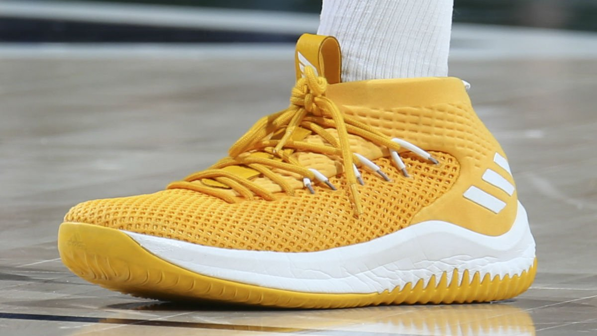 f62337c12aa5e4 ... solewatch spidadmitchell wearing the adidas dame 4 in yellow .pic. twitter rpqtbsjal2