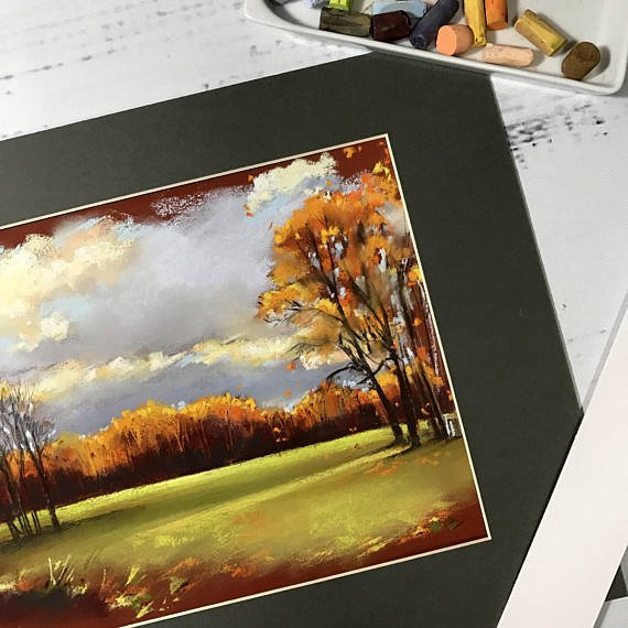 Pastel #painting #landscape, #autumn nature painting, soft pastels on sanded pastel paper, original painting #pastelpainting #pasteldrawing #pastels #softpastels<br>http://pic.twitter.com/GcSPWRW56S