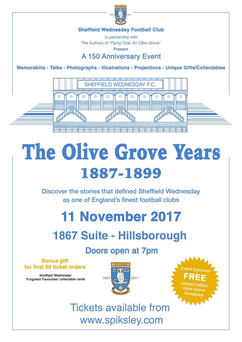 The day is finally here. Seems like a long time ago that we came up with the idea for an evening dedicated to the Olive Grove ground/era #swfc looking forward to seeing everyone there.