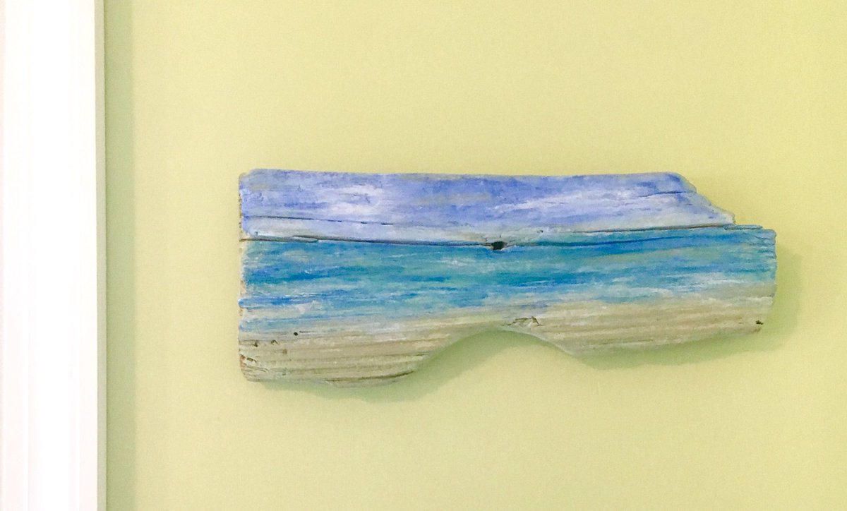 Reclaimed wood beach sign, seascape painting on wood   http:// etsy.com/listing/535464  &nbsp;  …  #driftwood #reclaimed #repurposed #beachsign #beach #ocean #seascape #SweepOfSand #woodart #clouds #sky #sea<br>http://pic.twitter.com/su6cJoRhgm