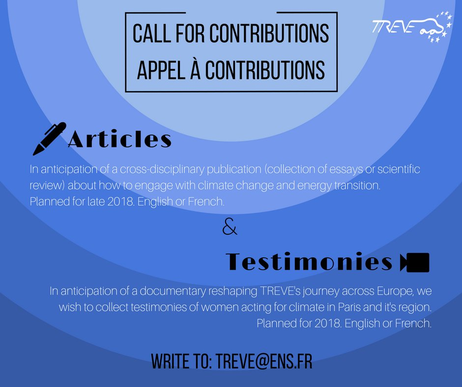We&#39;re launching a call for contributions! You&#39;re taking action for #ClimateChange and #EnergyTransition?  We&#39;re looking for people who care and want to change things  Write to treve@ens.fr #Manifesto #Climate #REs #Publication #TREVE <br>http://pic.twitter.com/xH2G8WYypG
