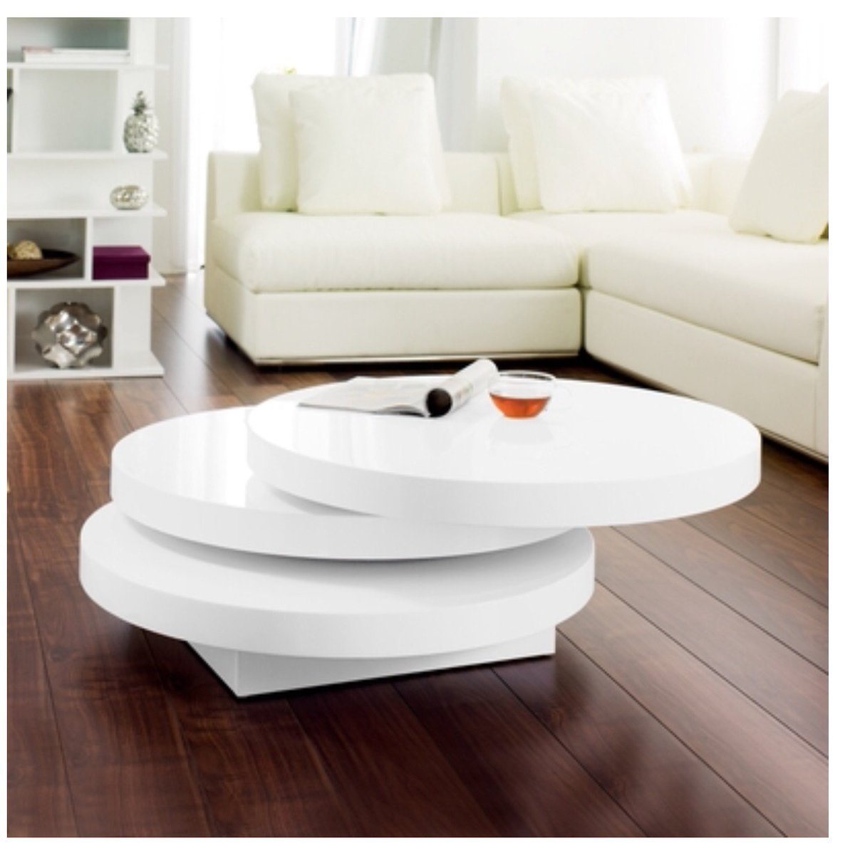 Itsadeal itsadeal123 twitter this stylish swivel rotating coffee table in glossy white is bound to upgrade any living area you can grab yours from 1 httpebay2hm3bhq geotapseo Image collections