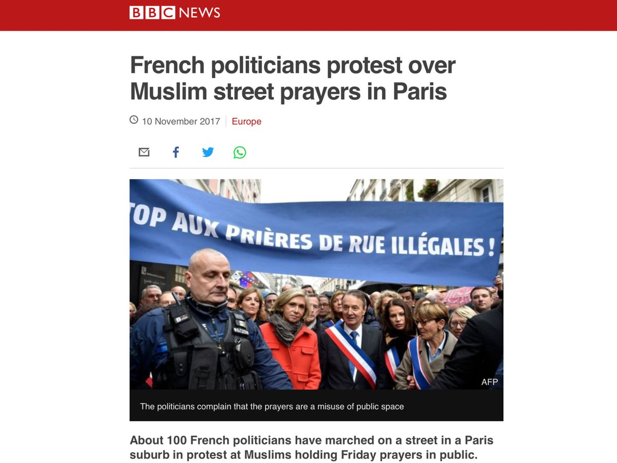 French politicians #protest over #Muslim street #prayers in #Paris... #France #Islamization #islamisation #bill62 #loi62 #M103  http://www. bbc.com/news/world-eur ope-41950826 &nbsp; … <br>http://pic.twitter.com/GyTopl7jEZ