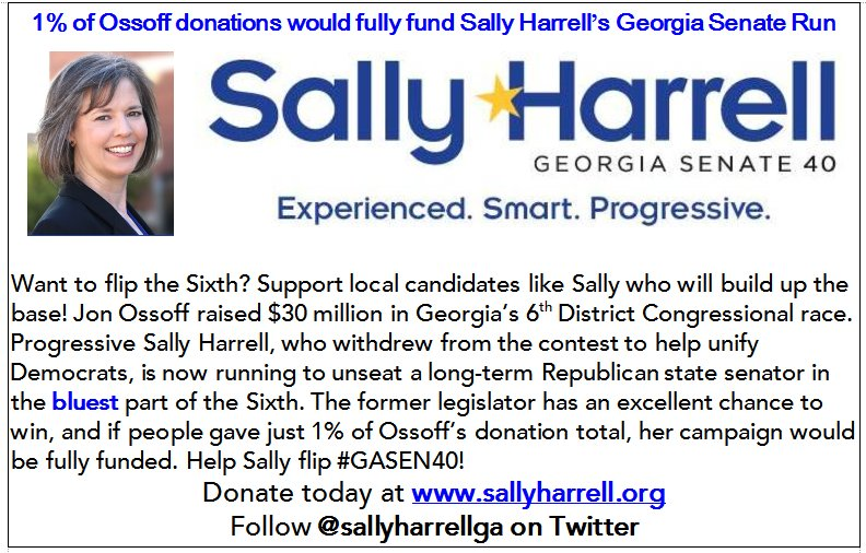 Seriously. Just 1% of @Ossoff donations would have fully funded @sallyharrellga's campaign. Good news: It&#39;s not too late to do so.  http:// brambleman.com/?p=2779  &nbsp;   #gapol #GA06 #Ossoff <br>http://pic.twitter.com/7YLr0PmXR6