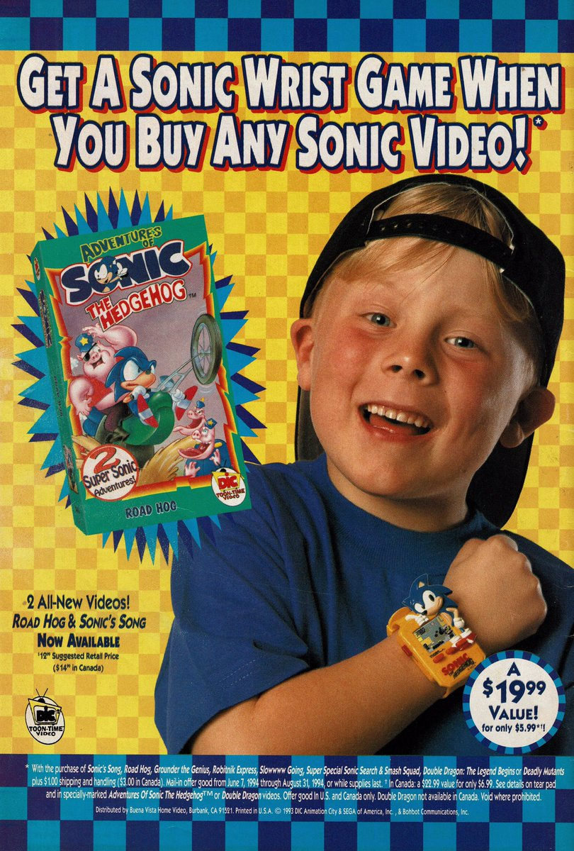 Videogameart Tidbits On Twitter Adventures Of Sonic The Hedgehog Vhs Ad 1993
