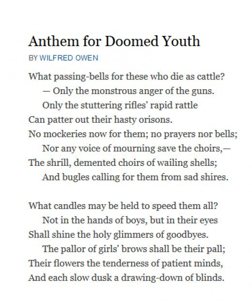 anthem for doomed youth commentary wilfred Anthem for doomed youth by wilfred owen what passingbells for these who die as cattle only the monstrous anger of the guns only the stuttering rifles rapid rattle can patter out their hasty.