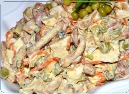 Рецепт салат с ананасом