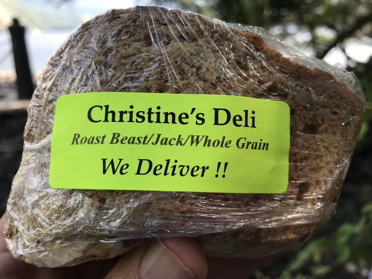 Last month in Hawaii I was handed this sandwich . The label begs SO may questions...
