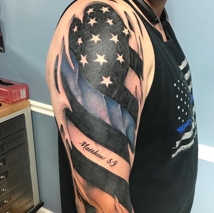 Dark Age Tattoo On Twitter Thin Blue Line Flag Tattoo Dome By