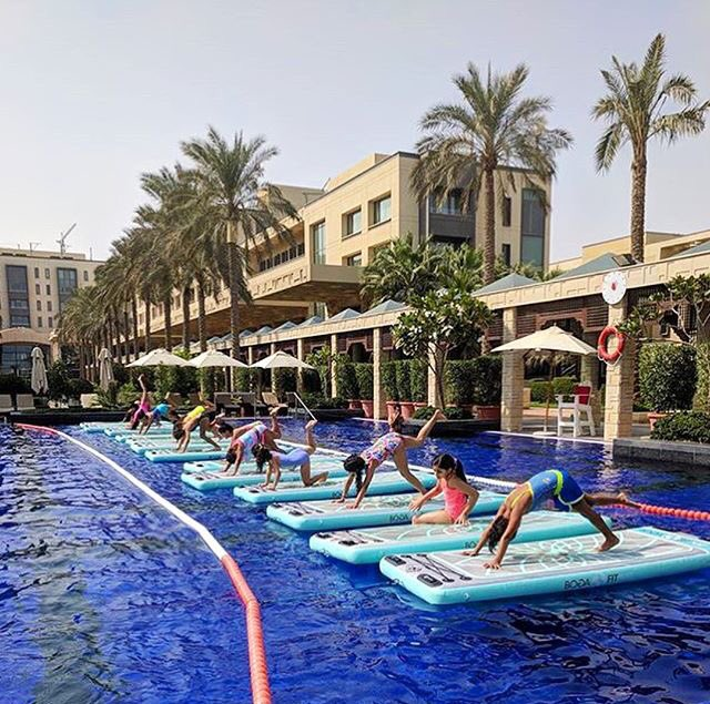 Experience a unique workout with SUP yoga on water #paddleboard #poolside or #Aerialyoga with @flyhighkuwait at #jumeirahmessilahbeach. <br>http://pic.twitter.com/BPqaJPy1iL