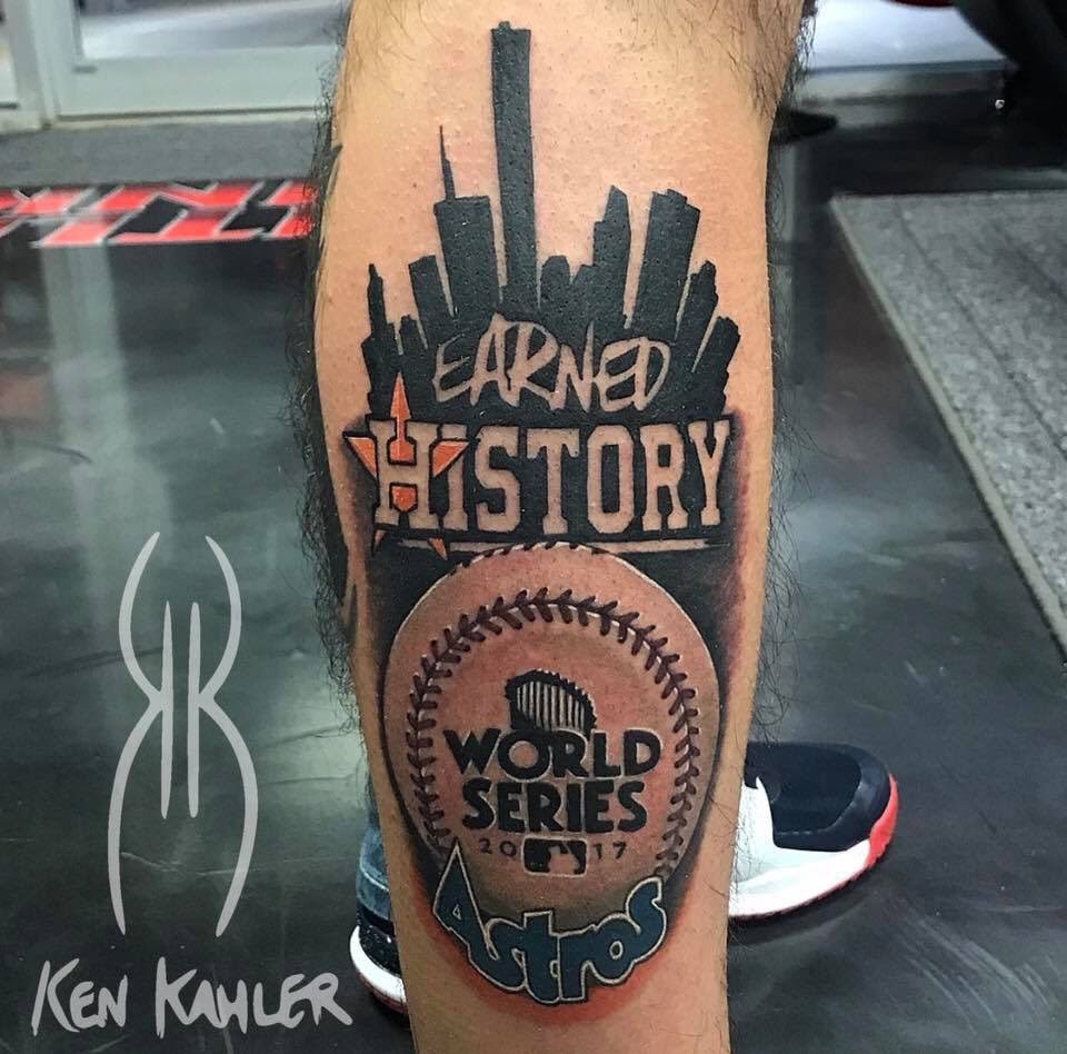Here&#39;s a tattoo my boy just got! He beat me to it but mine is coming! #Astros #EarnedHistory #MLB <br>http://pic.twitter.com/M3vdd3QuEx