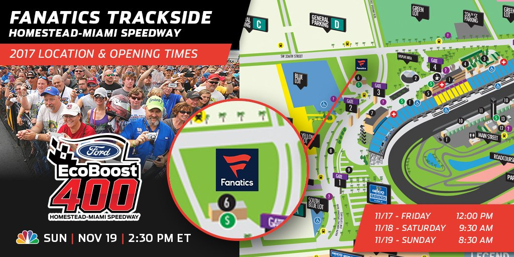 Happy race day, fans! It all comes down to this - the final race of the 2017 #NASCAR Cup Series season. Fanatics Trackside is now open, so grab your gear and get ready to cheer! See you in the stands!  #4TheCup