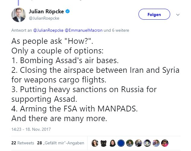 #Journalism?  If u demand daily,#Russia must be sanctioned for &quot;violation of int. #law&quot; in #Ukraine  but at same time u demand vs int.#law  -#Syria must be bombed  -Islamist &quot;rebels&quot;must be armed  -then u are a #degenerate hypocrite -working for @Bild -your name is @JulianRoepcke<br>http://pic.twitter.com/dJrPHXMf9L