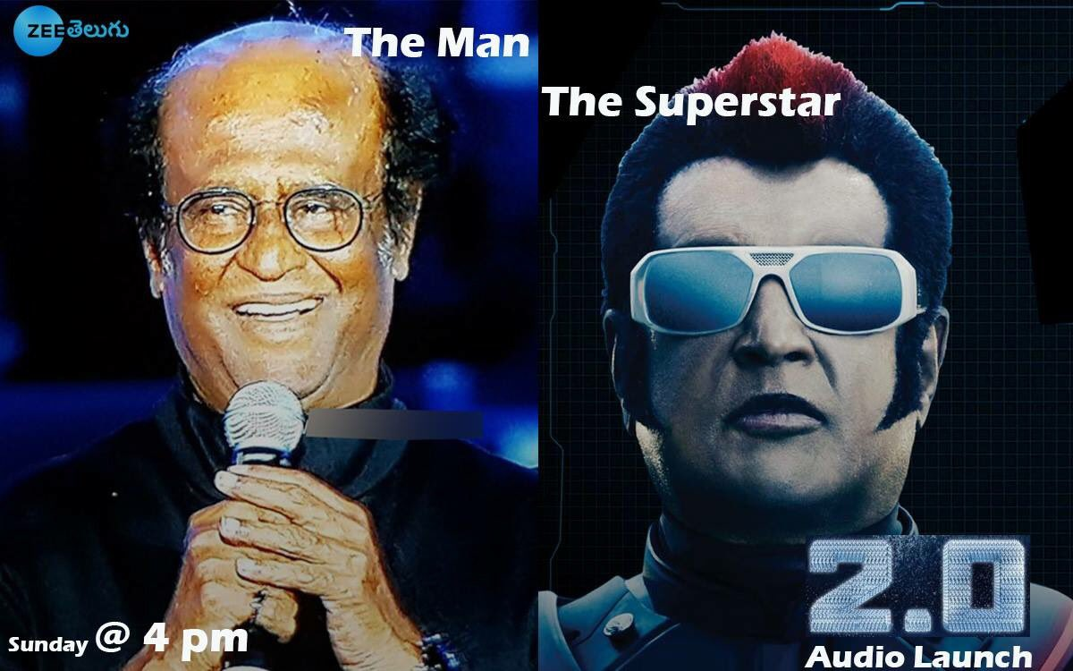 #2Point0:   5mins to go for india&#39;s biggest #2Point0AudioLaunch..   How many of u sitting infront of tv&#39;s???  Retweet!!  If uu..   @zeetelugu @ZeeTamil @ZeeTV  #Rajinikanth #AkshayKumar #Shankar @rameshlaus @superstarrajini @Rajni_FC @akshaykumar @2Point0movie<br>http://pic.twitter.com/eSvwJy0laC