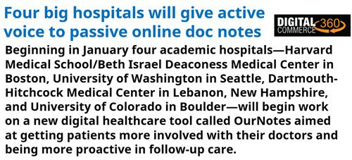Four big #hospitals will give #active #voice to passive #online doc notes  https:// goo.gl/d5zW8s  &nbsp;   #HealthIT #digitalhealth #ehealth #mhealth #innovation #healthtech #medtech #digitalmed<br>http://pic.twitter.com/gFvMrXXKcU