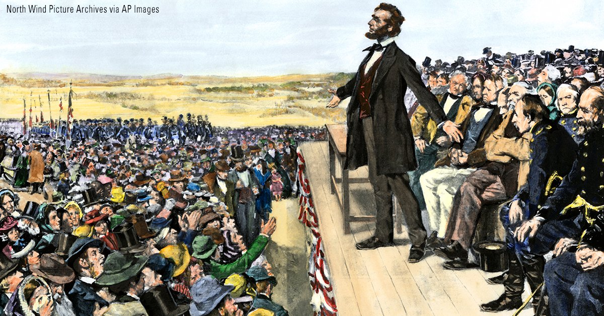 On this day in 1863, President Abraham Lincoln delivered a short speech at the close of ceremonies dedicating the battlefield cemetery at Gettysburg, Pennsylvania.