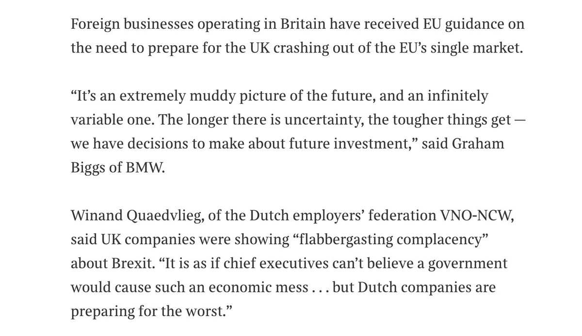 @EU_Commission @MichelBarnier @EIB .Businesses are being told not to be complacent about the possibility of a no-deal #Brexit . Some have made contingency plans but will wait until March before making irreversible decisions on UK investmenhttps://t.co/xH2GUbt7Fat  … … https://t.co/Q5Vnj1BOJ7