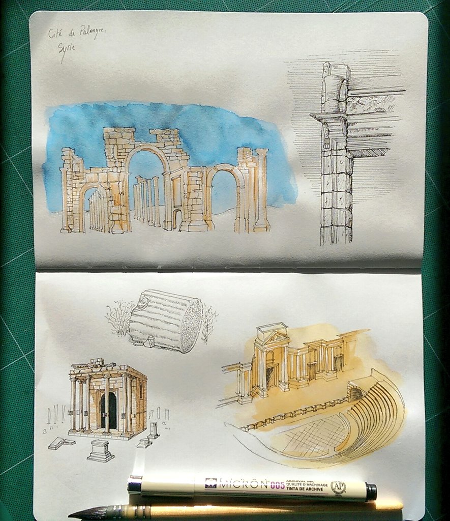 Pages of history, Palmyra , Syria  #art #illustration #drawing #architecture #watercolor #ink #city #syria #Palmyra #Homs #BigArtBoost #artistsontwitter #History #Saintnazaire  #Nantes <br>http://pic.twitter.com/fcE2ewNSW8