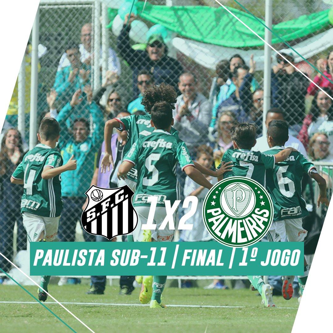 'O Palmeiras é o time da virada!' 🎶 A garotada do Sub-11 saiu na frente na final do Paulista batendo o Santos de virada! #AvantiPalestra