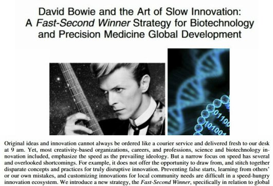 A &quot;Bowie-Esque&quot; Approach to Medical #Innovation; One Interesting Read!  http:// online.liebertpub.com/doi/pdf/10.108 9/omi.2017.0148 &nbsp; …  #SNRTG #OpenScience #RareDisease #genomics #science #DataScience #DavidBowie #ITRTG #BigData #biotech #GlobalHealth #innovation<br>http://pic.twitter.com/06z6sYRlsx