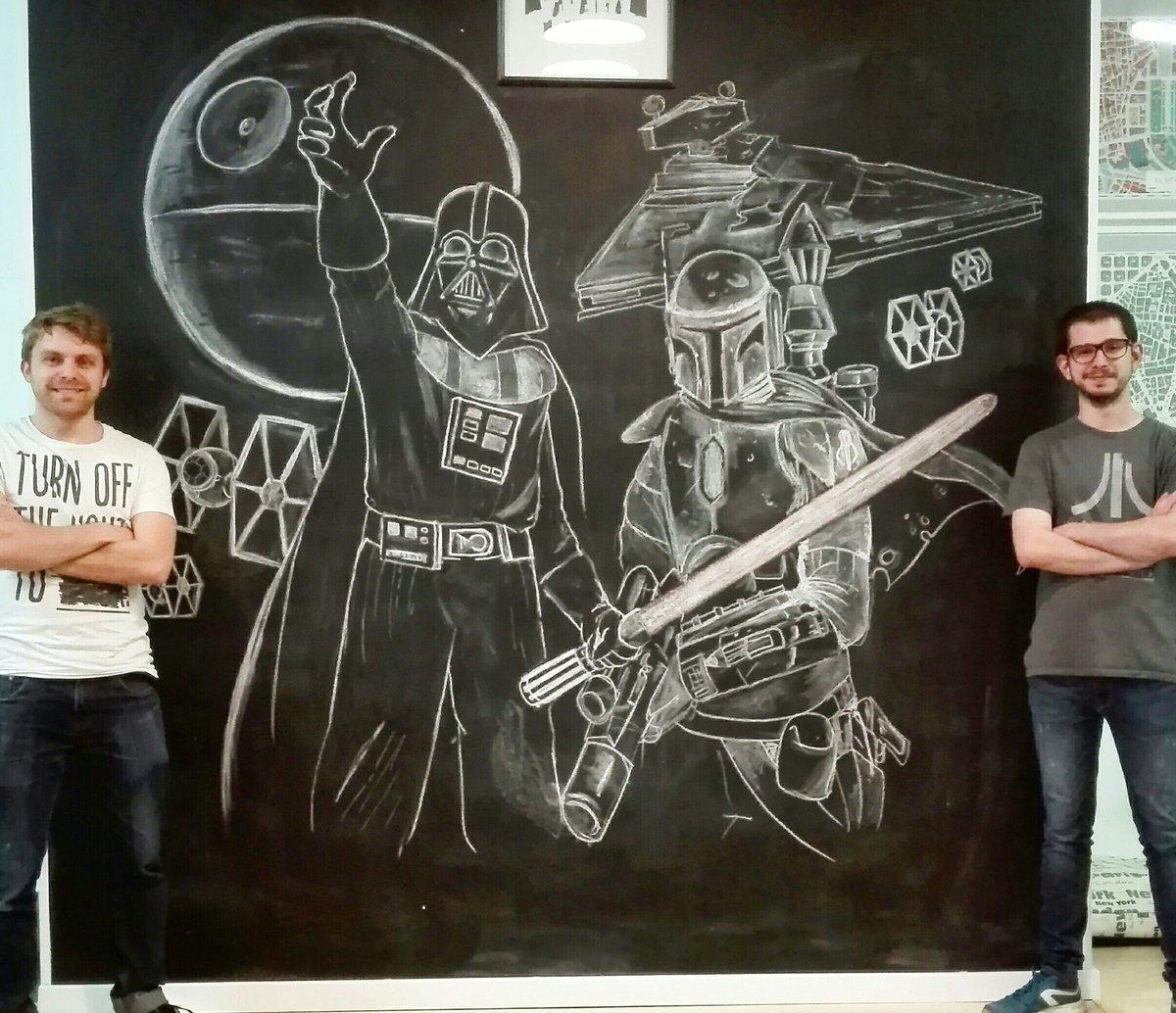 Bobba fett I drew with chalk, I&#39;m the dude at the right. #chalk #blackboard #bobbafett #mandalorian #darthvader #starwars #deathstar #empore #fanart #streetart #misc #nerd #geek #bountyhunter<br>http://pic.twitter.com/6FPWtEVfVH