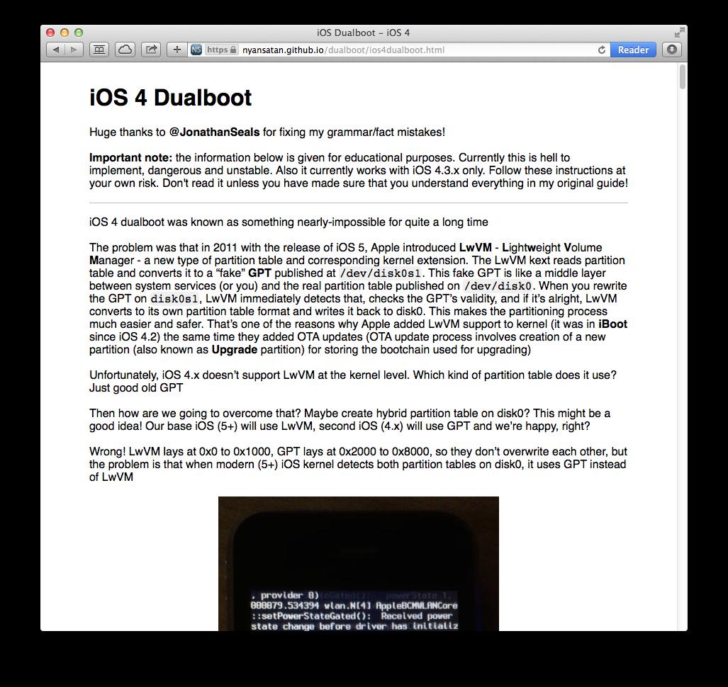 Dual booted iOS 4 3 5 on an iPad 2 Tweet added by Raffaele