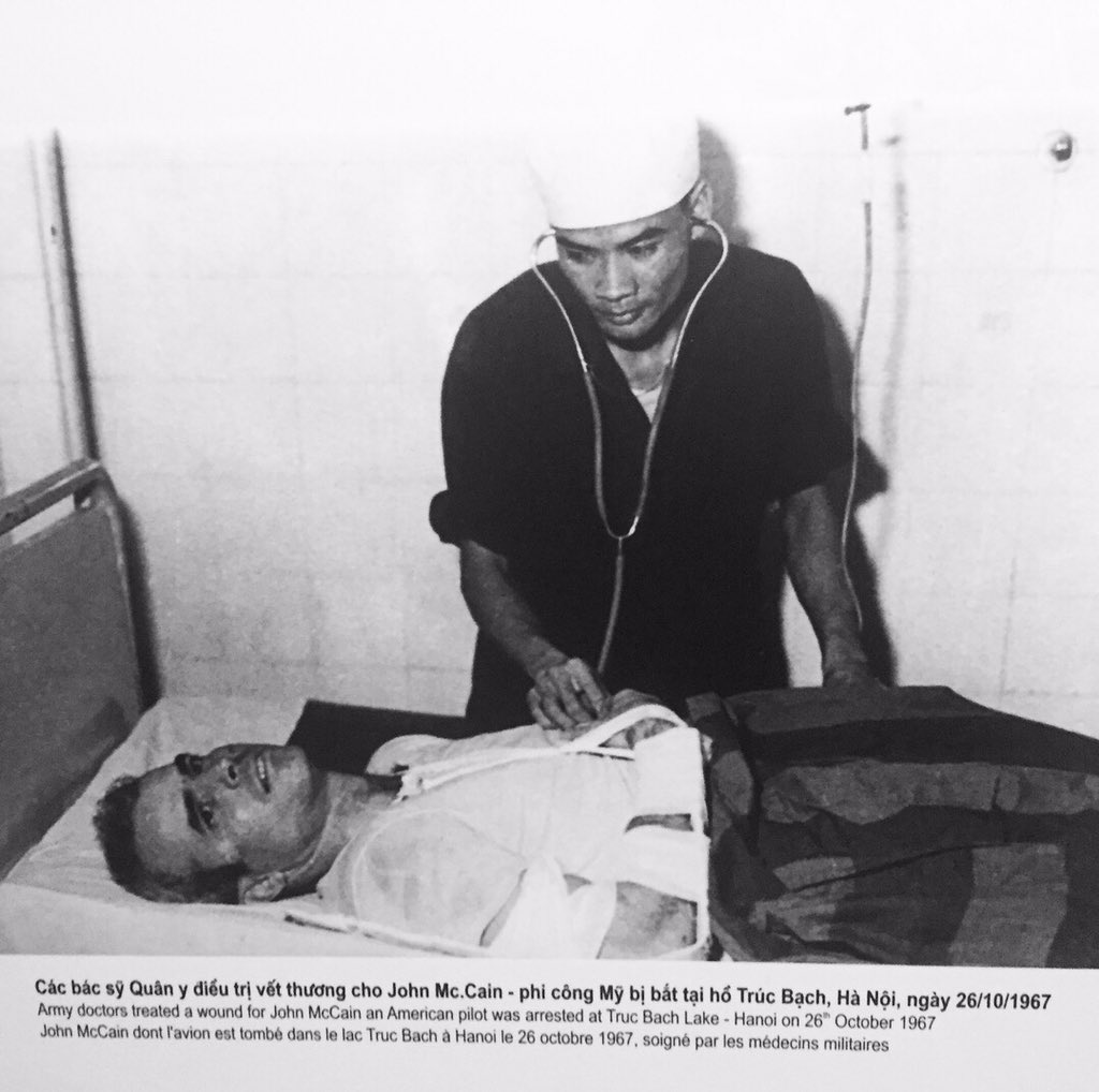 President Trump departs Vietnam. On his visit, he did not visit Hoa Lo Prison aka Hanoi Hilton like Clinton, Bush and others have done. If he had, he would have seen this photo of @SenJohnMcCain