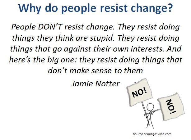 why people resist change Change is always difficult to make, be it individual change or organizational change attachment to familiar habits, practices, places and people may have to be given up change scares people individuals tend to find security in traditional approaches to life and situations one of the major.