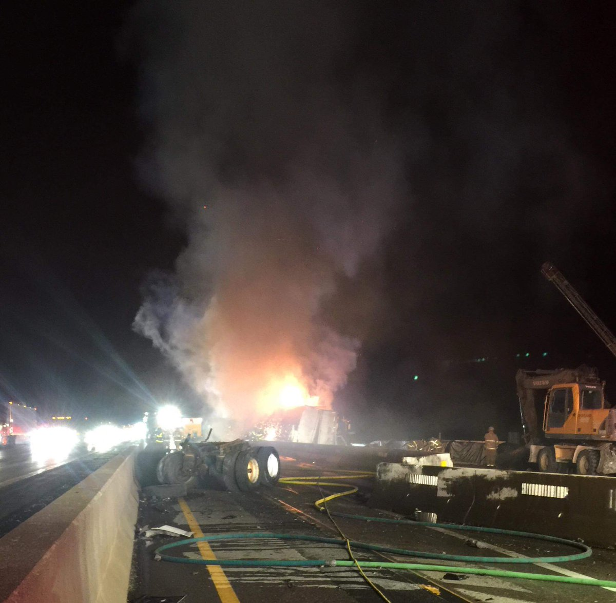 Tractor-trailer crash, blaze closes Thruway for hours late