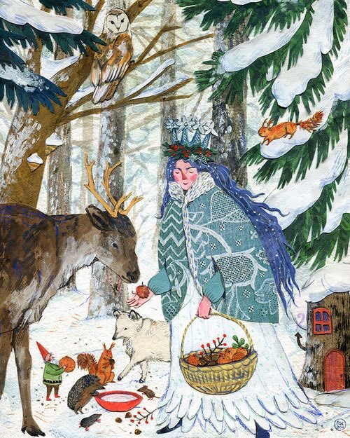 'Lady Winter' by Phoebe Wahl for The 2015 Taproots Calendar.  Apparently this is now available from them as a Christmas Card. #Vermont. <br>http://pic.twitter.com/Etuk8Vmtsg